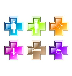 medical symbols in various colors vector image