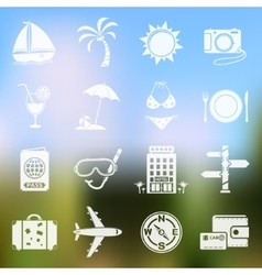 Travel icons on blurred background vector image