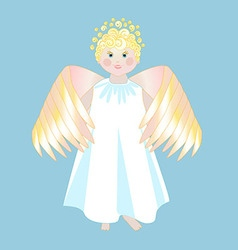 Smiling angel with wings in a white dress vector