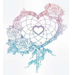 Heart shaped dream catcher with feathers vector