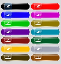 Swimmer icon sign set from fourteen multi-colored vector