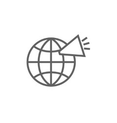 Globe with loudspeaker line icon vector