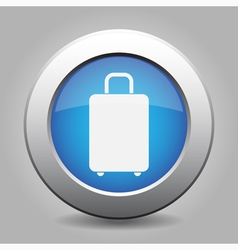 Blue metal button with suitcase vector