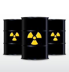 Black barrel with yellow radioactive symbol vector