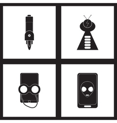 Concept flat icons in black and white mobile vector