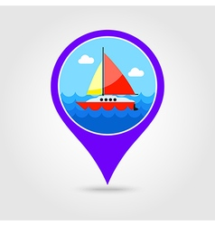 Boat with sail pin map icon summer vacation vector