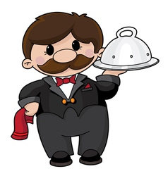 Waiter with tray vector