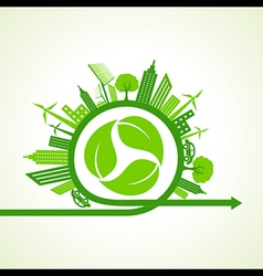 Eco city concept with recycle icon of leaf stock v vector