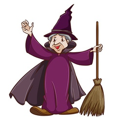 A coloured sketch of a witch with a broom vector image