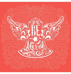 Be Marry- Silhouette of a Christmas Angel with vector image