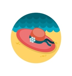 Beach hat flat icon vector