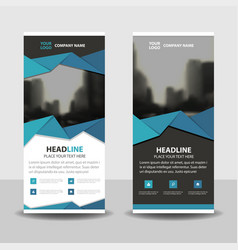 Blue polygon triangle abstract business roll up vector