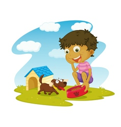 Boy and his dog vector image vector image
