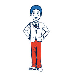 Business man character person in blue and orange vector