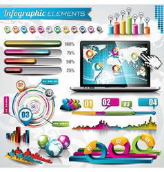 design set of infographic elements and laptop vector image vector image