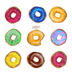 donut set isolated on white background vector image vector image