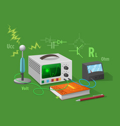Electronics class isolated on green vector