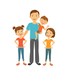 Father with kids dad and children fathers day vector