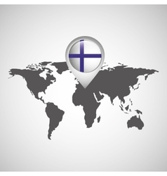 finland flag pin map design vector image vector image