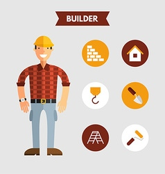 Flat design of builder with icon set infographic vector
