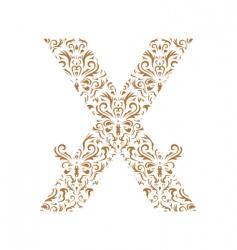 floral letter x ornament font vector image