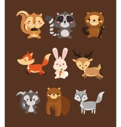 Fox rabbit deer squirrel raccoon beaver skunk and vector