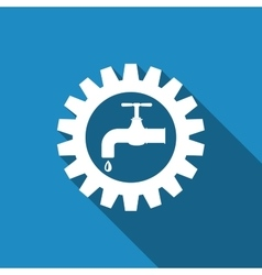 Gearwheel with tap sign as plumbing work logo flat vector
