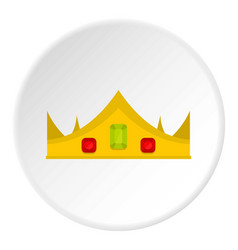 Gold royal crown icon circle vector