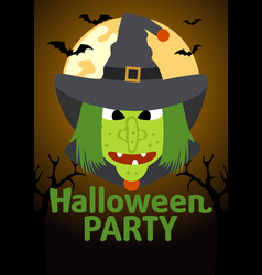 Halloween party banner with witch vector