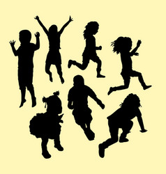 Happy kid running and jumping silhouette vector