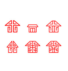 home logo and icon in chinese linear style vector image vector image