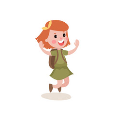 Joyful little girl scout character jumping with vector