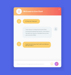 Live chat window to obtain live support on website vector
