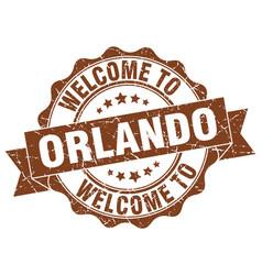 Orlando round ribbon seal vector