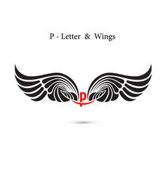 p-letter sign and angel wingsmonogram wing logo vector image
