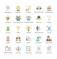 Project management icons set in flat desig vector
