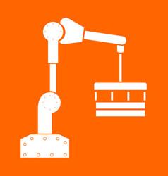 Robotic hand manipulator white icon vector
