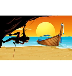 Scene with rock climber and beach vector