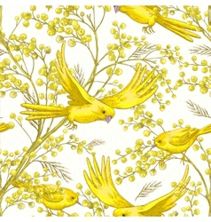 Seamless Pattern with Sprig of Mimosa vector image