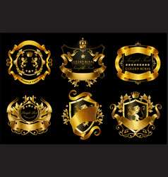 Set of golden royal stickers or emblems vector