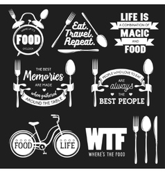 Set of vintage food related typographic quotes vector image vector image