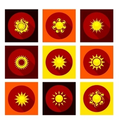 Sun icons set in flat style vector image