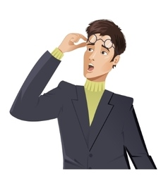 Surprised cartoon young man vector image