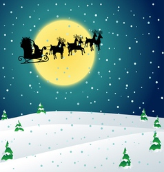 Winter night with Santa sleigh vector image vector image