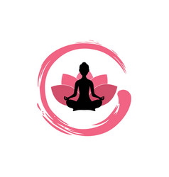 yoga woman silhouette lotus flower with zen logo vector image vector image