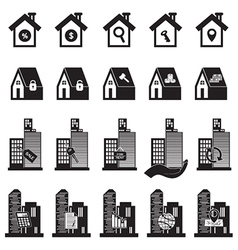 Real estate building and house symbol vector