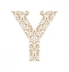 Floral letter y ornament font vector