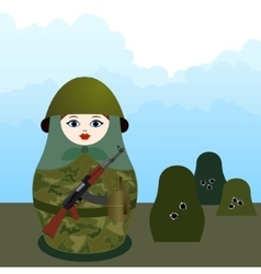 Matryoshka with a machine gun vector image