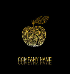 Golden apple symbol vector