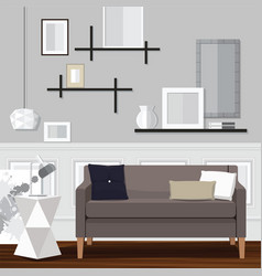 Gray living room vector